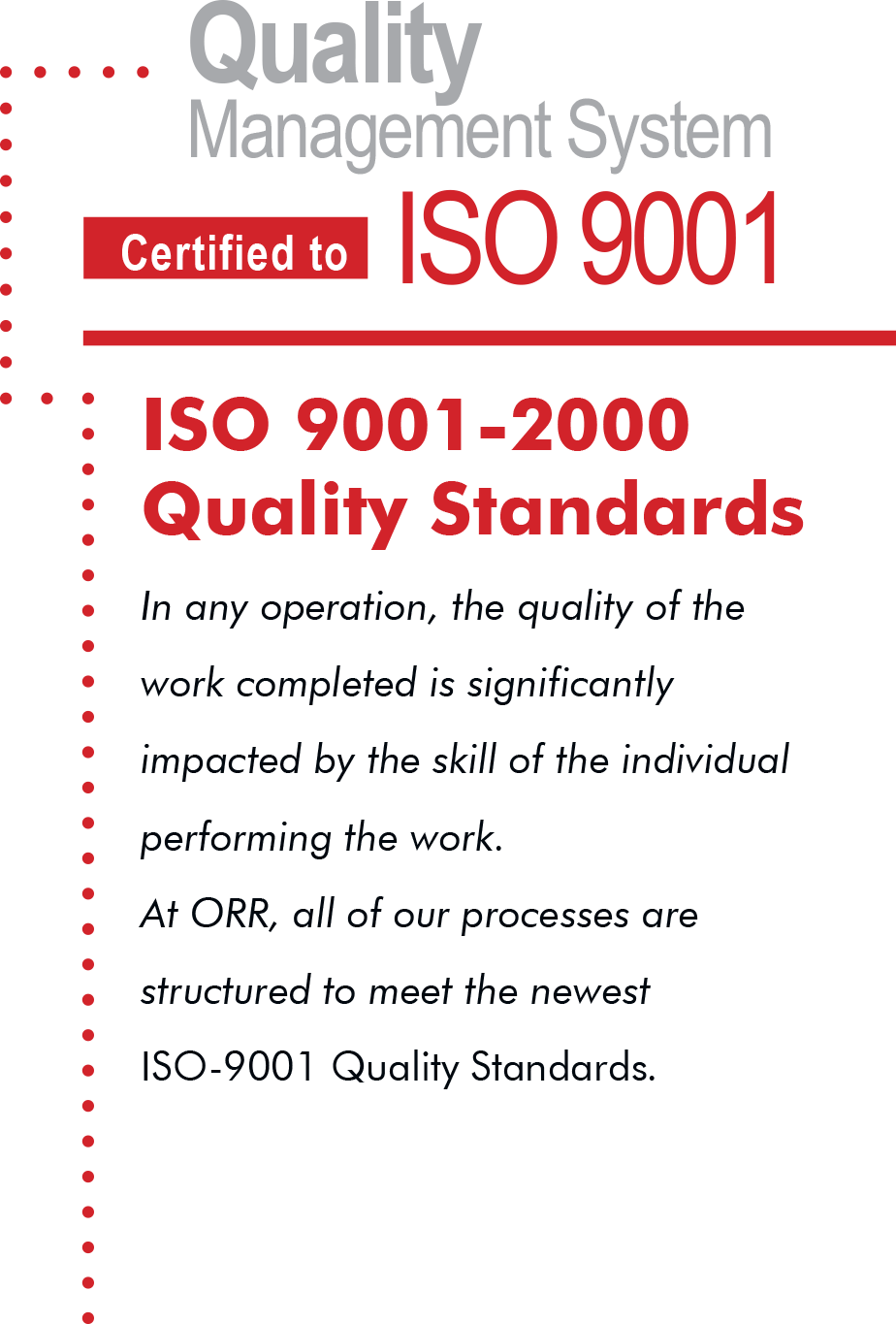 Quality Management System Certified to ISO 9001